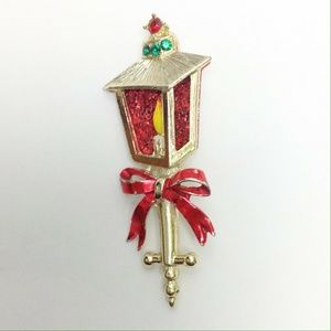 Vtg Candle Lamp Christmas Brooch Gold Pin Enamel